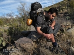 Eric pulls cholla needles out of his leg while thrashing through upper Blue Tank Canyon.