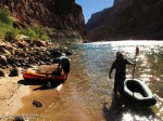 The team gets their pack rafts ready to head down the Colorado River.