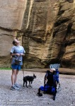 Wyatt, Briscoe and Laura take in the alcove of Sundance Canyon.