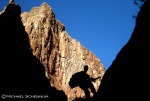 David rappels through the Supai Sandstone layer in the upper part of Cove Canyon.