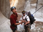 Mike (left) and Eric struggle to pull the rope on a triple drop 180- foot rappel with a bend in the canyon. After changing angles, moving down canyon and using a jumar the rope came down.