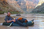 David smiles during a calm section of the five mile packraft of the Colorado River.
