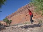 Having made it to our base camp at the confluence of Poe Canyon and Halls Creek in half a day, Mike kills some time by slacklining.