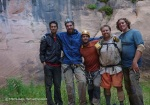 Mike, (from left) David, Eric, A.J. and Brian are all smiles with the final rappel behind us.