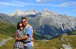 Laura and David at the border between Italy and Switzerland at Splügen Pass.