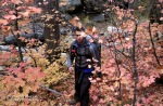 Eric hikes through Fall foliage in the start of the Barney Spring Canyon.