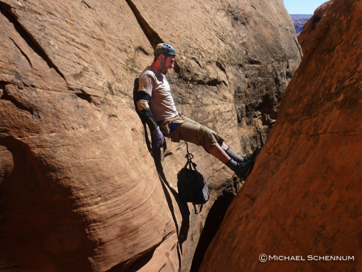 David stems high in Limbo Canyon.