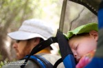 Wyatt takes a nap in the backpack on David's back while hiking through Aravaipa.