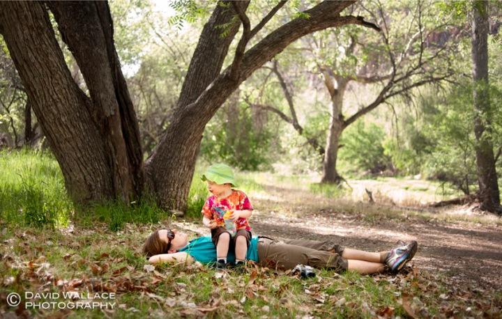 Laura and Wyatt take a break in Aravaipa Canyon.
