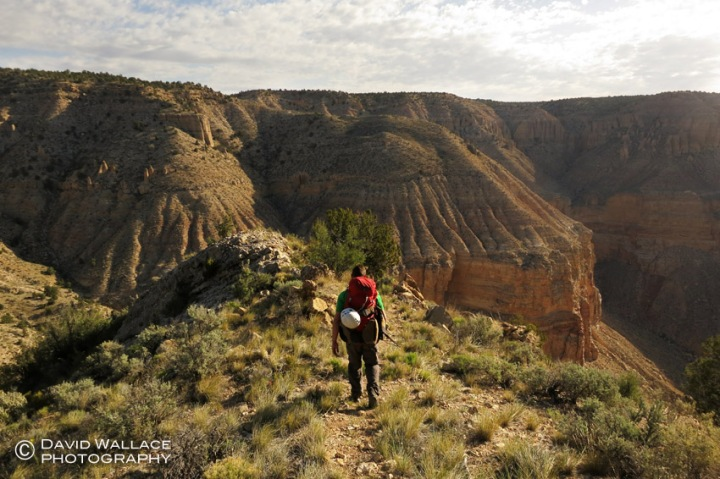Mark hikes on the Tuckup Route to get into 150-Mile Canyon.