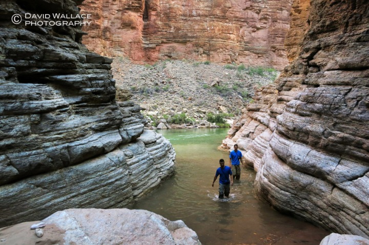 Cody and Eric hike back into Matkatamiba Canyon from the Colorado River.