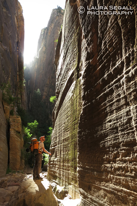David takes in the canyon walls shortly above the confluence with the Virgin River Narrows.