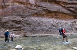 David and Wyatt followed by Lee and Marsha hike up the Virgin RIver Narrows.
