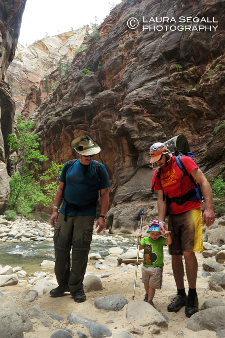 Lee, Wyatt and David hike in the Narrows.