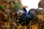 David rappels in Quartz Canyon in the Superstition Mountains.