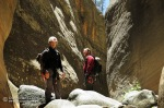 Tanner and Ron take in the narrows in Little LO Canyon in the Coconino National Forest.