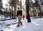 In over half a foot of snow, Cody descends into the South Fork of Alder Canyon.