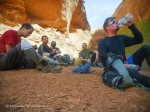 The crew takes a break at the confluence of Hog 1 and Hog 2 before heading back up the sandstone for Hog 2.