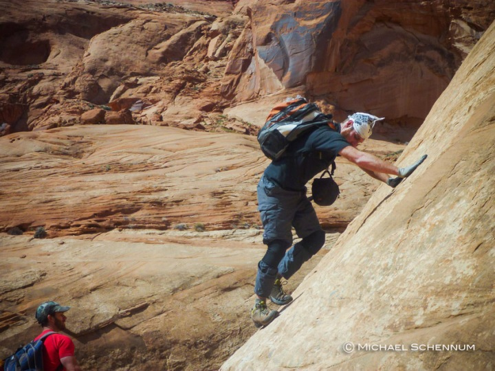 David works his way up a 5th class section to get out of the canyon bottom en route to Hog 2.