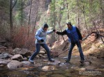 Helping my mom during one of the many stream crossings in the W. Fork of Oak Creek Canyon.