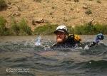 Brian swims across Frye Mesa Reservoir for the exit during David's trip.