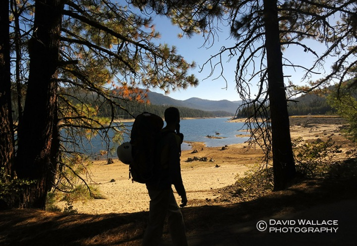 At the start of the approach, Cody walks by Huntington Lake. With the extreme drought in California you can notice how low the levels of the lake are.