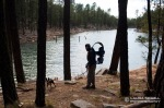 David and Briscoe look out on Willow Springs Lake on the Mogollon Rim on the Apache-Sitgreaves National Forest.