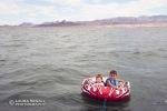 Wyatt and Dylan tubing on Lake Havasu.