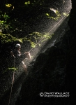 Laura rappelling in light and water in Kilau Creek.