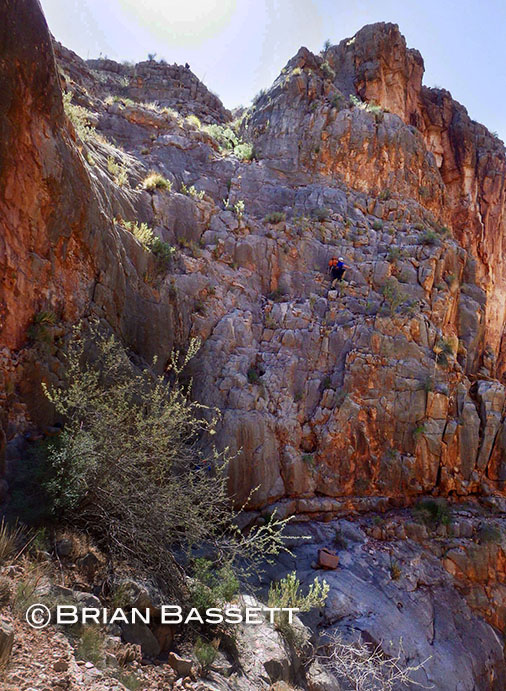 Mark leads the charge up a super exposed class 3+ climb to get above the Redwall out of the National system.