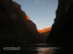 The last light on the canyon as seen from the float on the river.