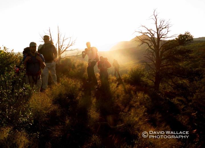 The sun comes up during the approach along Dakota Ridge.