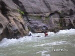 David negotiating white water with nothing more than his body in the Narrows.