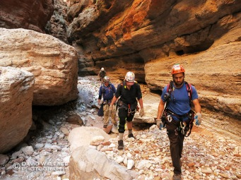 The crew gets into Whispering Falls Canyon