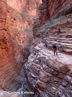 Scoping out the big drop in Whispering Falls Canyon.