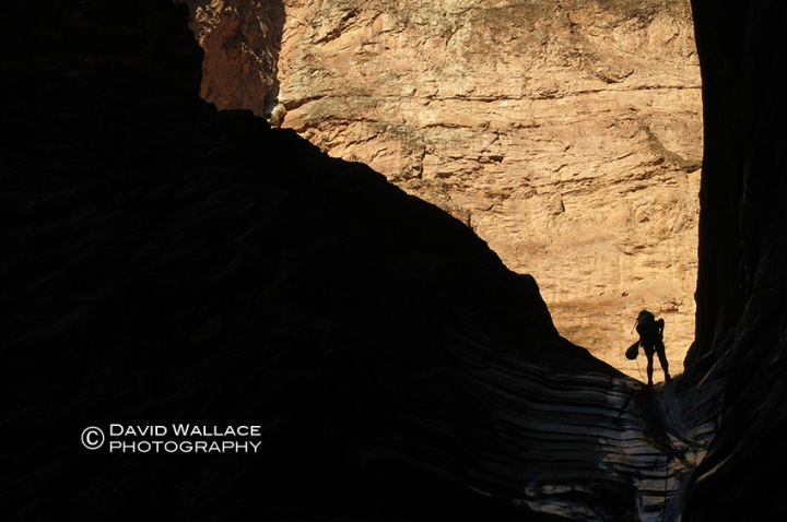 Chris is silhouetted on rappel in Whispering Falls Canyon.