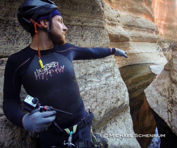 David holds the two GoPro Virtual Reality rig while planning out a shot in Punchbowl Canyon.